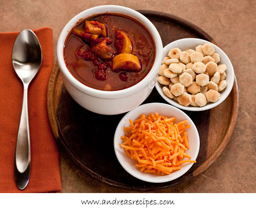 Michael's vegetarian chili, from Andrea Meyers, for Meatless Monday (on Soup Chick).