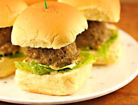 Turkey pesto meatball sliders, on The Perfect Pantry.