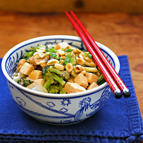 Thai red curry tofu and broccoli, easy restaurant take-out to make at home.