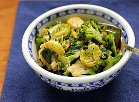 Brussels and broccoli with a maple mustard vinaigrette (The Perfect Pantry).