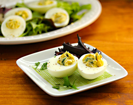 Lemon caper deviled eggs, perfect for Easter or summer parties.