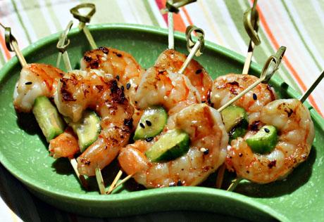 Grilled sesame-lime shrimp and cucumber skewers.