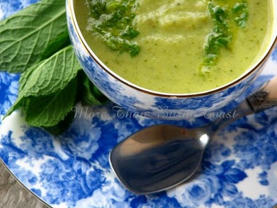 Asparagus soup with mint pistou, from More Than Burnt Toast (on Soup Chick).