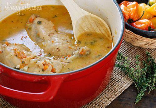 Jamaican brown stew chicken, from Skinnytaste (on Soup Chick).