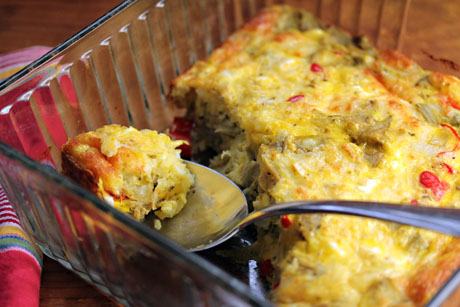 Egg and cheese casserole with artichoke hearts and feta, on The Perfect Pantry.