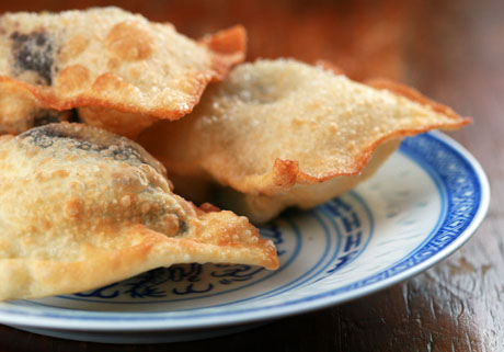 Chocolate and banana wontons, on The Perfect Pantry.