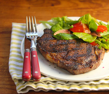 Get your grill on! Rib-eye steak rubbed with cocoa, cumin and allspice.