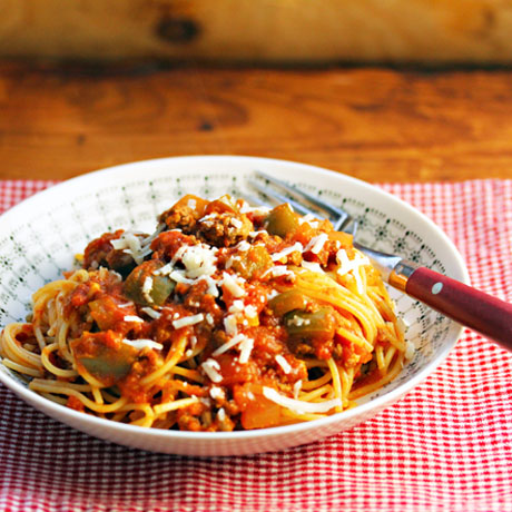 Spaghetti sauce made with one of everything, on The Perfect Pantry.