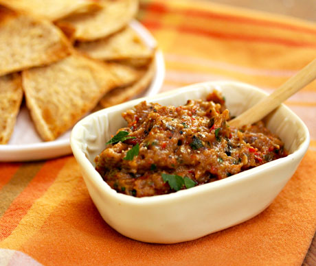 Roasted eggplant spread with garlic pepper and onions.