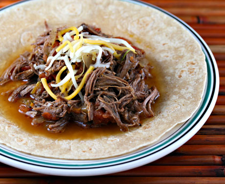 Slow cooker Cuban-style ropa vieja.