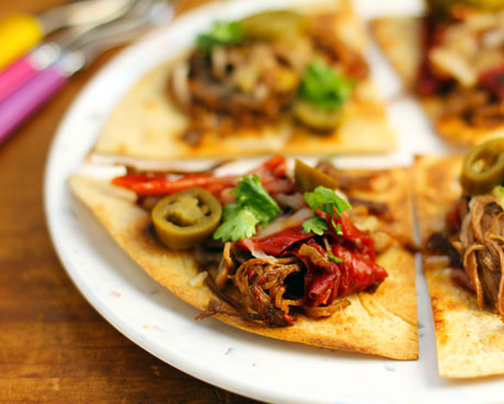 Sweet coffee beef nachos, made in the slow cooker.