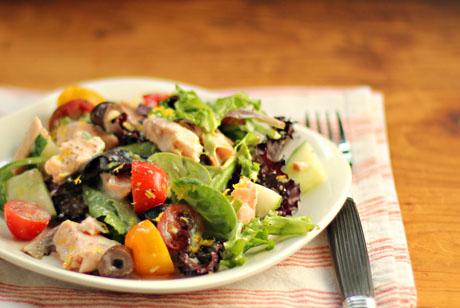 Salmon and greens salad.