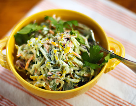 Lemon caper broccoli slaw (add chicken or shrimp for main dish).