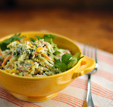 Lemon caper broccoli slaw salad.