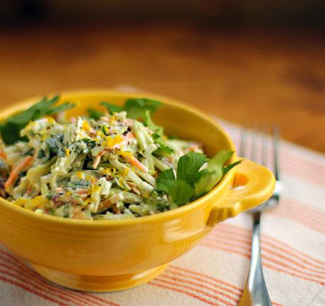 Lemon caper broccoli slaw salad.