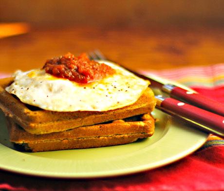 Savory Southest cornmeal waffles, with fried egg and salsa.