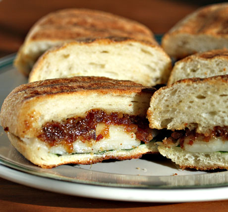 Bacon jam and cheese panini.