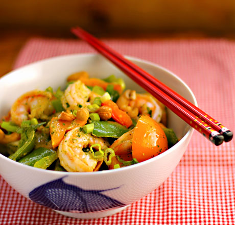 Shrimp and bell pepper stir-fry with Asian cilantro vinaigrette.