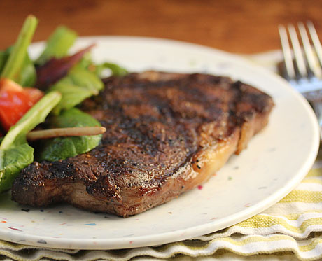 Cocoa-cumin-allspice rubbed rib-eye steak.