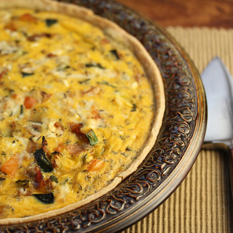 Zucchini, bacon and feta quiche, great for make-ahead entertaining.