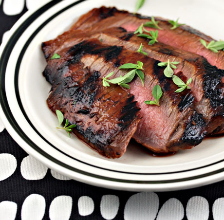 Grilled flank steak with ponzu and honey glaze.