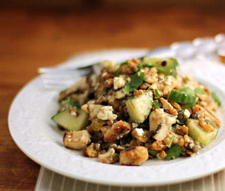 Lentil and chicken salad with raisins and feta cheese.