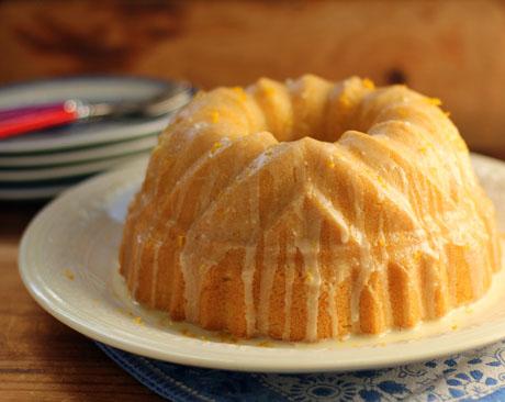 Orange buttermilk Bundt cake, rich and creamy.