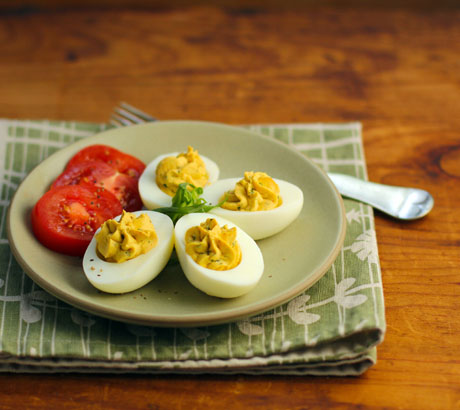 Tarragon and roasted red pepper deviled eggs.