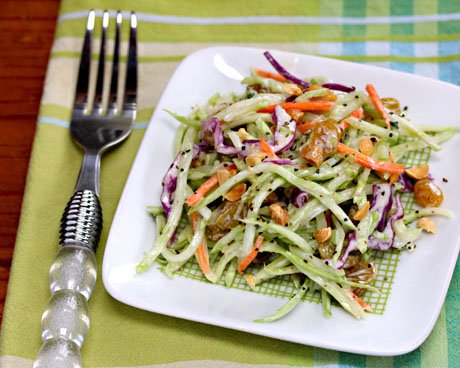 Broccoli slaw salad with honey-mustard yogurt dressing.