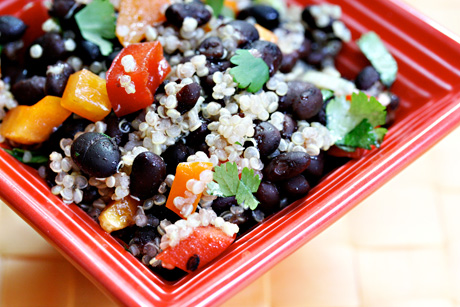 Black bean, quinoa and red pepper salad with honey-lime vinaigrette.