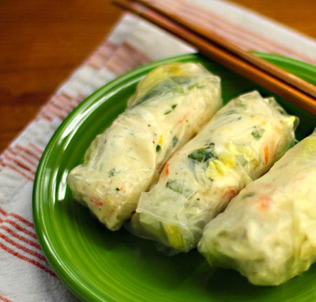 Lemon-basil shrimp (or lobster) salad rolls.