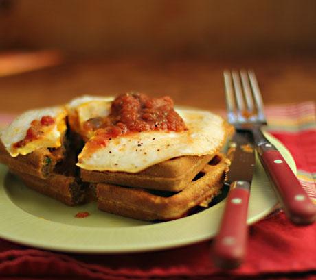 Southwest cornmeal waffles. Breakfast or lunch!