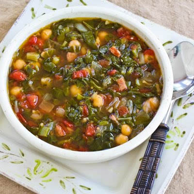 Chard and chickpea soup with sausage and green pepper, from Kalyn's Kitchen
