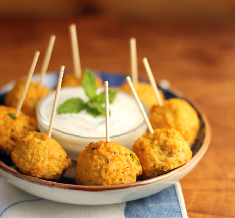 Afghan-style pumpkin turkey meatballs, with yogurt mint dipping sauce, from A Flock of Meatballs.