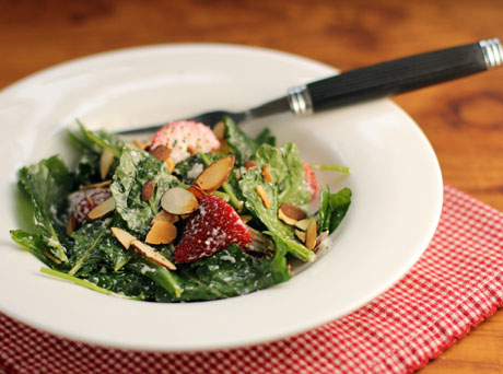 Strawberry, kale and toasted almond Caesar salad.
