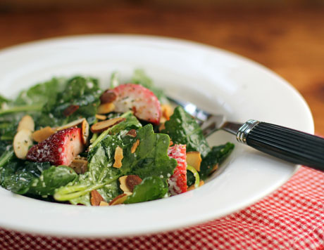Strawberry, kale and toasted almond Caesar salad, from The Perfect Pantry.