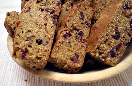 Maple nut bread with cranberries.