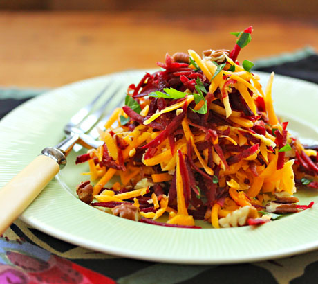 and vibrant colors in this raw beet, butternut and pecan slaw ...