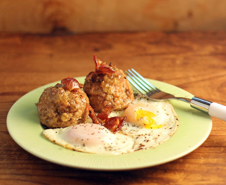 Canadian breakfast turkey meatballs with maple and bacon.