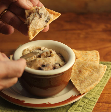 Slow cooker white bean and olive dip or spread.