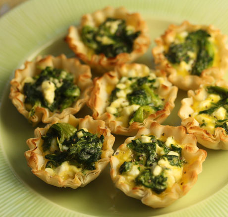 Spinach and feta phyllo cups.