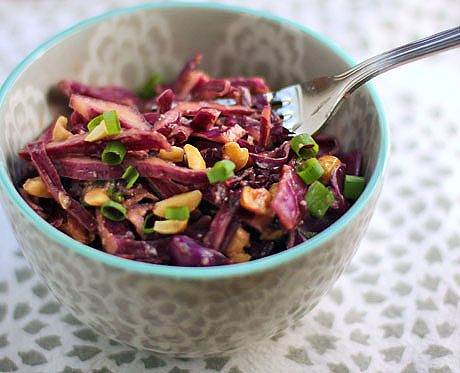 Asian red cabbage slaw with peanuts, scallions and mint (vegan).