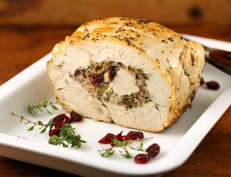 Slow cooker turkey breast with wild rice stuffing.