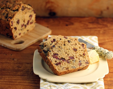 Maple cranberry walnut bread, for dinner and the morning after.