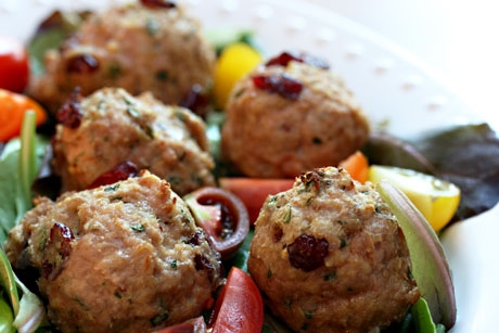 Turkey, cranberry and basil meatballs, for a bite-size taste of Thanksgiving.