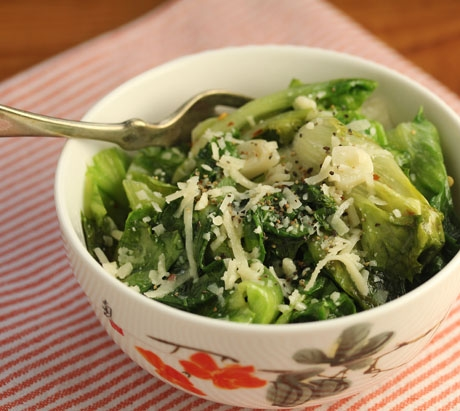 Escarole with garlic and parmesan cheese, an easy holiday side dish.