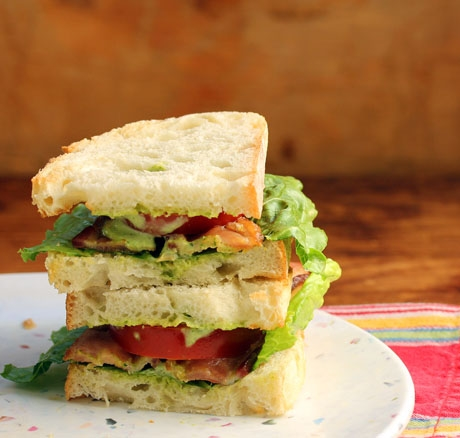 Green goddess bacon, lettuce and tomato sandwich.