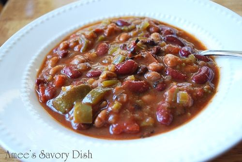 Slow cooker vegetarian chili, from Amee's Savory Dish.