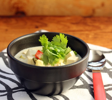 Dairy-free Thai green curry coconut soup.