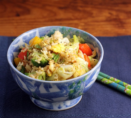 Vegetable fried rice, with broccoli, cabbage, peppers.